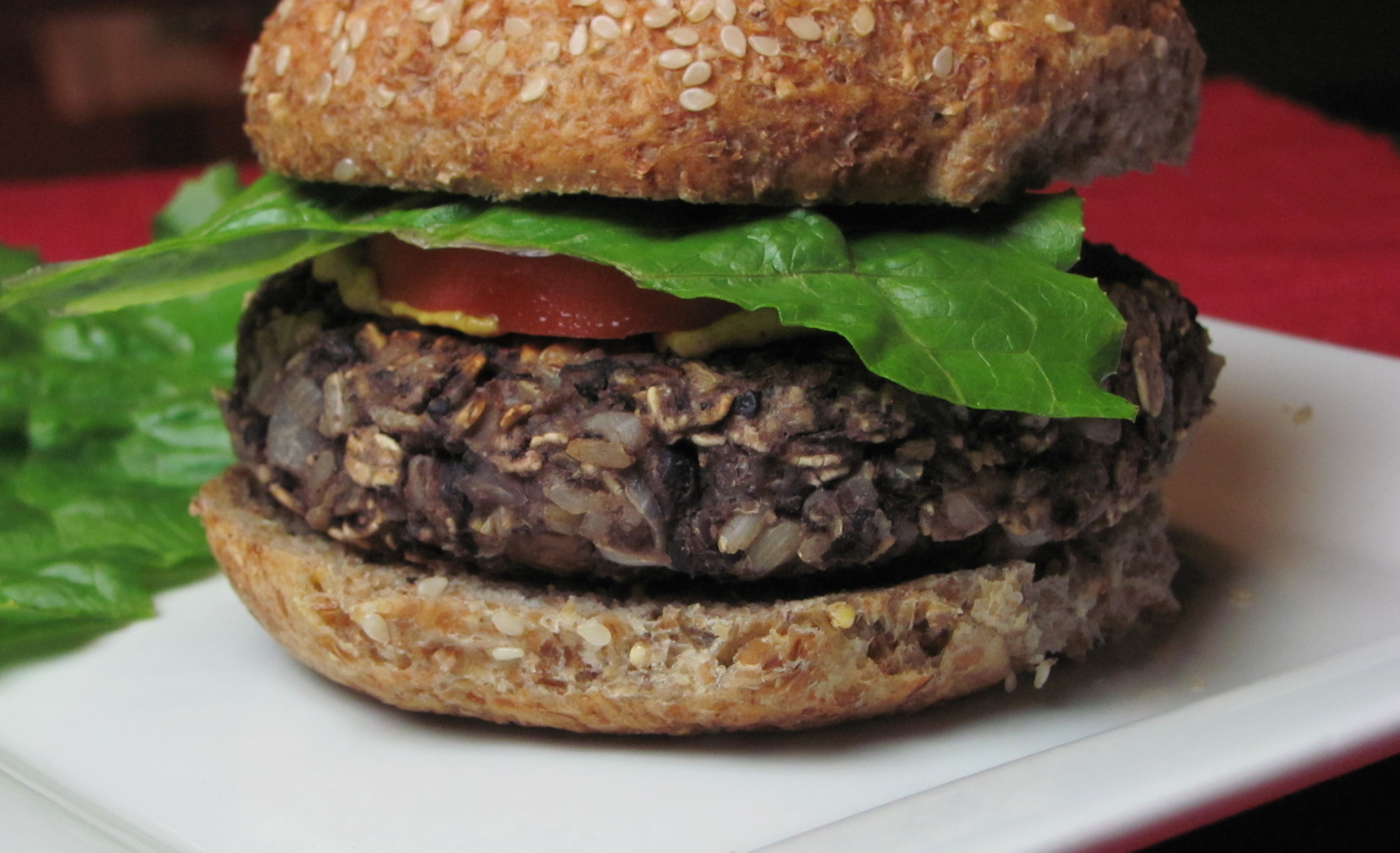 vegan black bean and brown rice burger