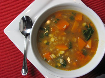 kale and butternut squash vegan soup